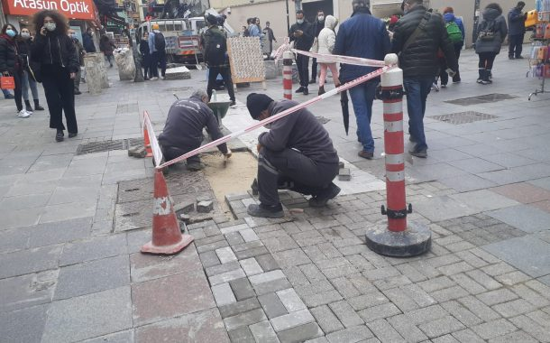 Kadıköy Tarihi Çarşı'da yol tamir çalışmaları